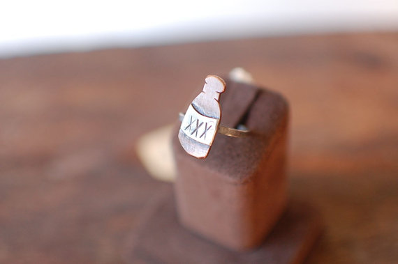 Booze Bottle Ring Sterling and Copper