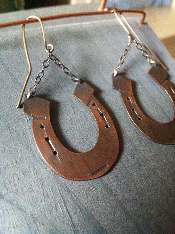 Copper & Sterling Silver Lucky Horse Shoe Charm Earrings
