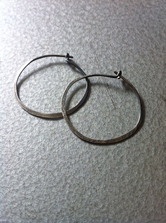 Simply Hammered Hoops 1 inch